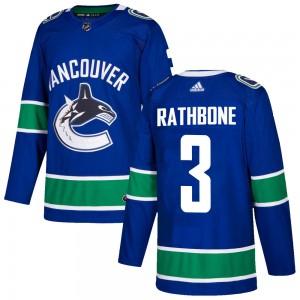 Jack Rathbone Vancouver Canucks Men's Adidas Authentic Blue Home Jersey