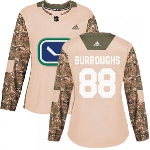 Kyle Burroughs Vancouver Canucks Women's Adidas Authentic Camo Veterans Day Practice Jersey
