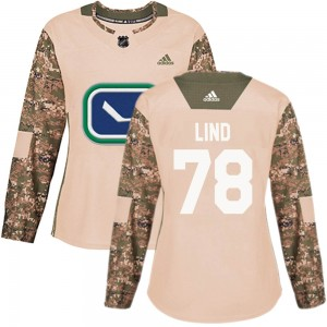 Kole Lind Vancouver Canucks Women's Adidas Authentic Camo Veterans Day Practice Jersey
