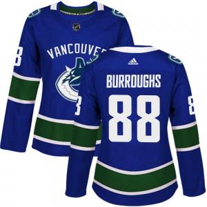 Kyle Burroughs Vancouver Canucks Women's Adidas Authentic Blue Home Jersey