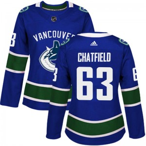 Jalen Chatfield Vancouver Canucks Women's Adidas Authentic Blue Home Jersey
