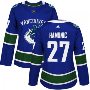 Travis Hamonic Vancouver Canucks Women's Adidas Authentic Blue Home Jersey