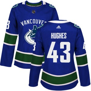 Quinn Hughes Vancouver Canucks Women's Adidas Authentic Blue Home Jersey