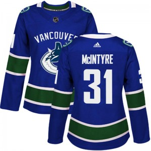 Zane McIntyre Vancouver Canucks Women's Adidas Authentic Blue Home Jersey