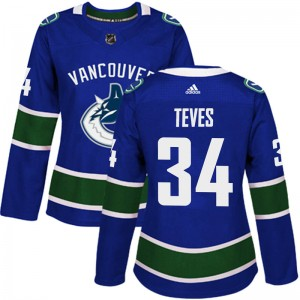 Josh Teves Vancouver Canucks Women's Adidas Authentic Blue Home Jersey