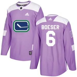 Brock Boeser Vancouver Canucks Youth Adidas Authentic Purple Fights Cancer Practice Jersey