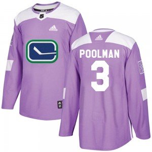 Tucker Poolman Vancouver Canucks Youth Adidas Authentic Purple Fights Cancer Practice Jersey