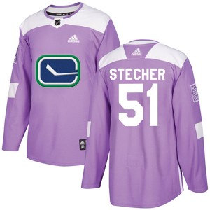 Troy Stecher Vancouver Canucks Youth Adidas Authentic Purple Fights Cancer Practice Jersey