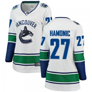 Travis Hamonic Vancouver Canucks Women's Fanatics Branded White Breakaway Away Jersey