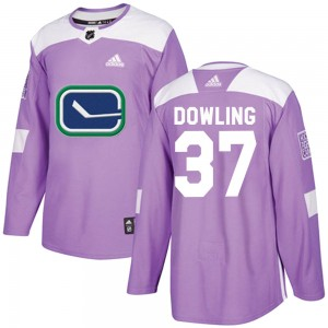 Justin Dowling Vancouver Canucks Men's Adidas Authentic Purple Fights Cancer Practice Jersey