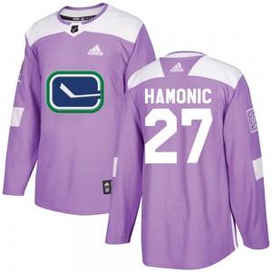 Travis Hamonic Vancouver Canucks Men's Adidas Authentic Purple Fights Cancer Practice Jersey