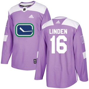 Trevor Linden Vancouver Canucks Men's Adidas Authentic Purple Fights Cancer Practice Jersey
