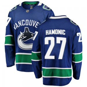 Travis Hamonic Vancouver Canucks Men's Fanatics Branded Blue Breakaway Home Jersey