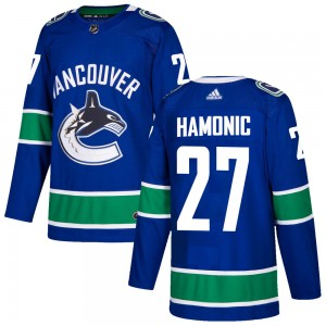 Travis Hamonic Vancouver Canucks Youth Adidas Authentic Blue Home Jersey