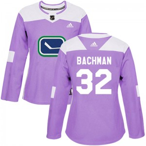 Richard Bachman Vancouver Canucks Women's Adidas Authentic Purple Fights Cancer Practice Jersey