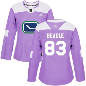 Jay Beagle Vancouver Canucks Women's Adidas Authentic Purple Fights Cancer Practice Jersey