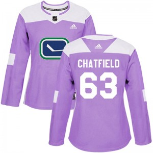 Jalen Chatfield Vancouver Canucks Women's Adidas Authentic Purple Fights Cancer Practice Jersey