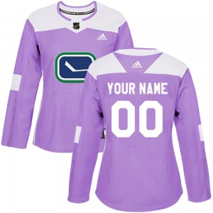 Women's Adidas Vancouver Canucks Customized Authentic Purple Fights Cancer Practice Jersey
