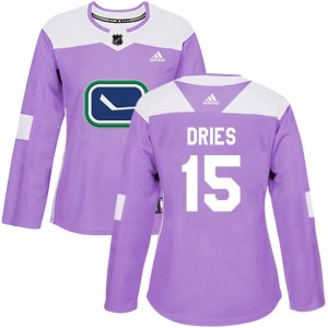 Sheldon Dries Vancouver Canucks Women's Adidas Authentic Purple Fights Cancer Practice Jersey
