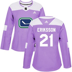 Loui Eriksson Vancouver Canucks Women's Adidas Authentic Purple Fights Cancer Practice Jersey