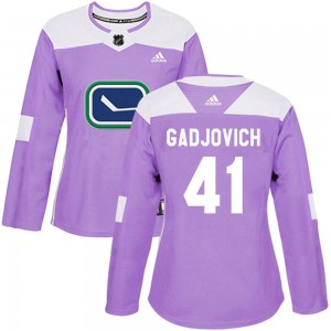 Jonah Gadjovich Vancouver Canucks Women's Adidas Authentic Purple Fights Cancer Practice Jersey