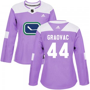 Tyler Graovac Vancouver Canucks Women's Adidas Authentic Purple Fights Cancer Practice Jersey