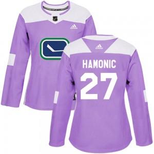 Travis Hamonic Vancouver Canucks Women's Adidas Authentic Purple Fights Cancer Practice Jersey