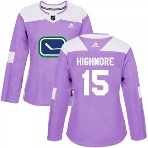 Matthew Highmore Vancouver Canucks Women's Adidas Authentic Purple Fights Cancer Practice Jersey