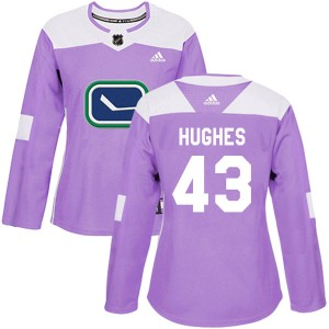 Quinn Hughes Vancouver Canucks Women's Adidas Authentic Purple Fights Cancer Practice Jersey