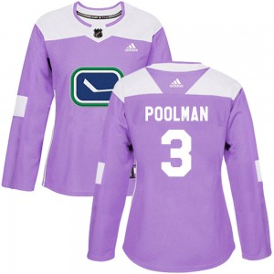 Tucker Poolman Vancouver Canucks Women's Adidas Authentic Purple Fights Cancer Practice Jersey