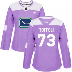 Tyler Toffoli Vancouver Canucks Women's Adidas Authentic Purple ized Fights Cancer Practice Jersey
