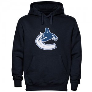 Vancouver Canucks Men's Navy Blue Old Time Hockey Big Logo with Crest Pullover Hoodie