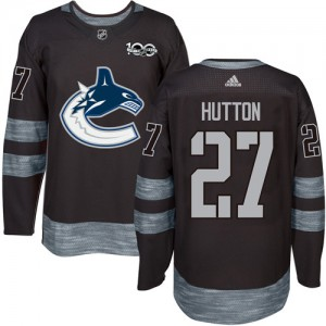 Ben Hutton Vancouver Canucks Men's Adidas Authentic Black 1917-2017 100th Anniversary Jersey