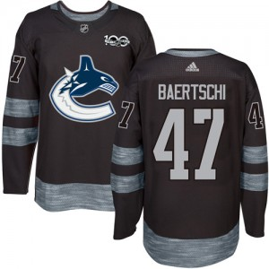 Sven Baertschi Vancouver Canucks Men's Adidas Authentic Black 1917-2017 100th Anniversary Jersey