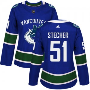 Troy Stecher Vancouver Canucks Women's Adidas Authentic Blue Home Jersey