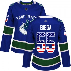 Alex Biega Vancouver Canucks Women's Adidas Authentic Blue USA Flag Fashion Jersey