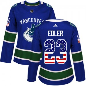 Alexander Edler Vancouver Canucks Women's Adidas Authentic Blue USA Flag Fashion Jersey