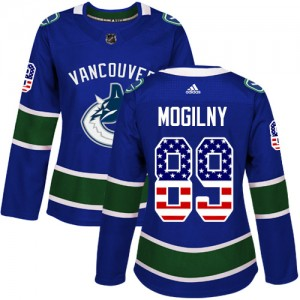 Alexander Mogilny Vancouver Canucks Women's Adidas Authentic Blue USA Flag Fashion Jersey