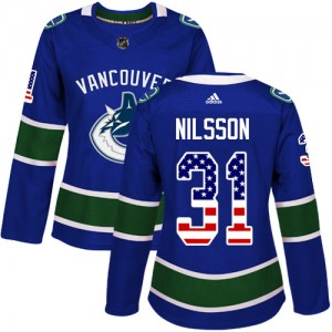 Anders Nilsson Vancouver Canucks Women's Adidas Authentic Blue USA Flag Fashion Jersey