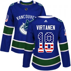 Jake Virtanen Vancouver Canucks Women's Adidas Authentic Blue USA Flag Fashion Jersey
