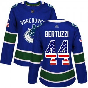 Todd Bertuzzi Vancouver Canucks Women's Adidas Authentic Blue USA Flag Fashion Jersey