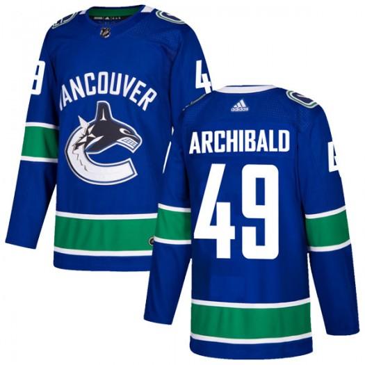 Darren Archibald Vancouver Canucks Men's Adidas Authentic Blue Home Jersey