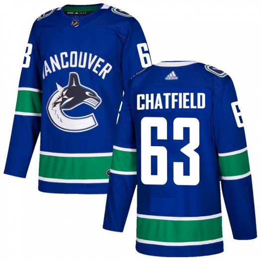 Jalen Chatfield Vancouver Canucks Men's Adidas Authentic Blue Home Jersey