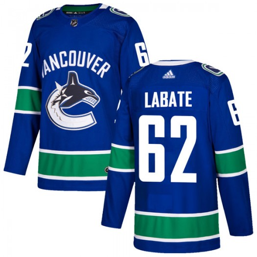 Joseph Labate Vancouver Canucks Men's Adidas Authentic Blue Home Jersey