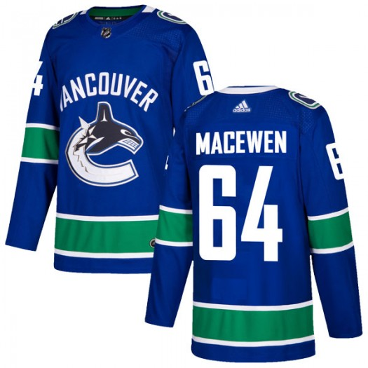 Zack MacEwen Vancouver Canucks Men's Adidas Authentic Blue Home Jersey