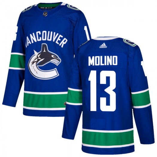 Griffen Molino Vancouver Canucks Men's Adidas Authentic Blue Home Jersey