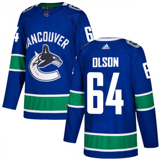 Tate Olson Vancouver Canucks Men's Adidas Authentic Blue Home Jersey