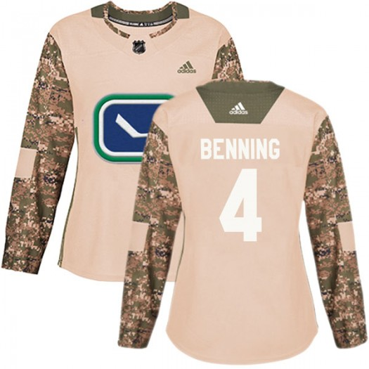 Jim Benning Vancouver Canucks Women's Adidas Authentic Camo Veterans Day Practice Jersey