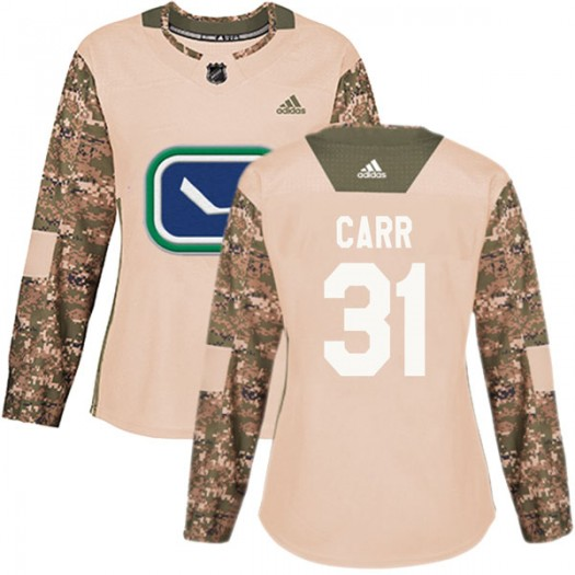 Kevin Carr Vancouver Canucks Women's Adidas Authentic Camo Veterans Day Practice Jersey