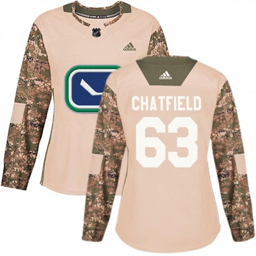 Jalen Chatfield Vancouver Canucks Women's Adidas Authentic Camo Veterans Day Practice Jersey